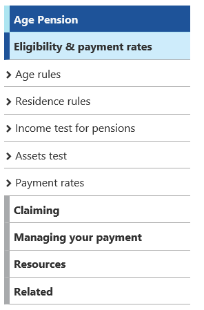 Age Pension page's navigation menu with the first option expanded showing nested menu option